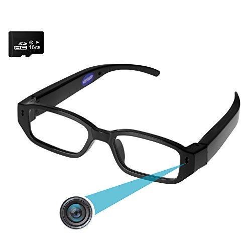 Preisvergleich Produktbild HD Kamera Brille Forepin® 16GB 1920 * 1080P HD Spion Kamera Videobrillen DV Camcorder Spycam mit 5 MPix für Radfahren Motorad Bike ((erweiterbar auf 32GB))