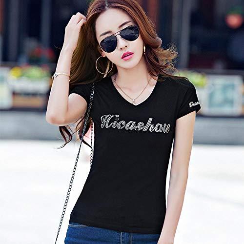 Diamant-damen Shirt (DFDONG Damen T-Shirt Diamant-Kurzarm-T-Shirt Wildes, Schmales T-Shirt Aus Baumwolle Mit V-Ausschnitt @ Black_XL)
