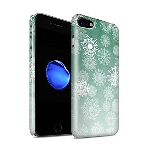 STUFF4 Glanz Snap-On Hülle / Case für Apple iPhone 8 / Lila Muster / Schneeflocke Nebel Kollektion Grün