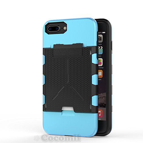 iPhone 8 Plus / 7 Plus / 6S Plus / 6 Plus Coque, Cocomii Viking Armor NEW [Heavy Duty] Premium Built-in Multi Card Holder Shockproof Hard Bumper Shell [Military Defender] Full Body Dual Layer Rugged C Baby Blue