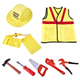 MAJOZ Kinder Bauarbeiter Kostüm Outfit mit Werkzeug ,Kinder Rollenspiel Geschenke Für Jungen Mädchen