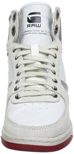 G-STAR PITCHER Rhodene Hi GS61440 Damen Sneaker Weiß (White Lthr & Suede w/Red 31D)