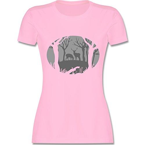 Shirtracer Wildnis - Hirsche - Damen T-Shirt Rundhals Rosa