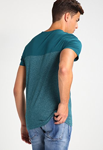 YOURTURN T-Shirt Herren Bordeaux, Blau, Petrol o. Schwarz, Meliert