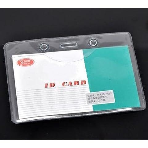 CKB Ltd 100x Budget Clear ID Card Badge Holder Pouchs Carta Holders Identificazione Portabadge Tesserino di Riconoscimento Enclosed Double Side 10 x 7cm Orizzontale Trasparente PVC