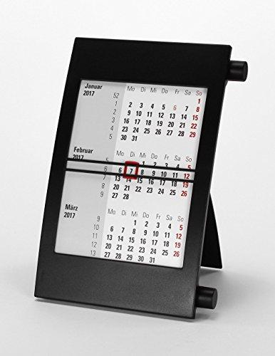 HiCuCo 3-Monats-Tischkalender für 2 Jahre (2017 und 2018) - Aufstellkalender - mit Drehmechanik - schwarz