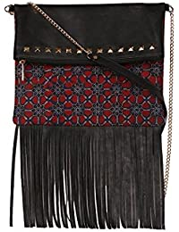 Maroon And Black Ajrakh Sling Bag With Metal Strap