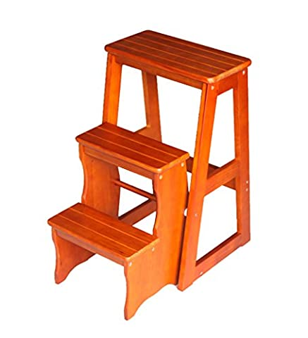 YANZHEN Tabouret Échelle Folding Double utilisation 3 couches épaississant du bois massif, 3 couleurs ( Couleur : Light walnut )
