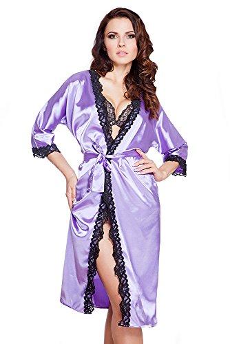 Edler Morgenmantel Kimono aus Satin lang Größen S-XXL VA73/Lila