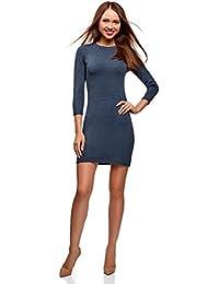 oodji Ultra Damen Kleid Basic mit 3/4-Ärmeln