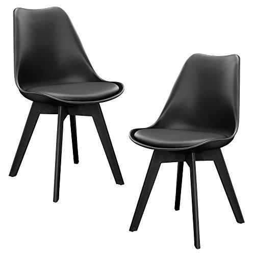 [en.casa] 2 x sedie sala da pranzo (nere) per sala da pranzo/salotto / cucina - set