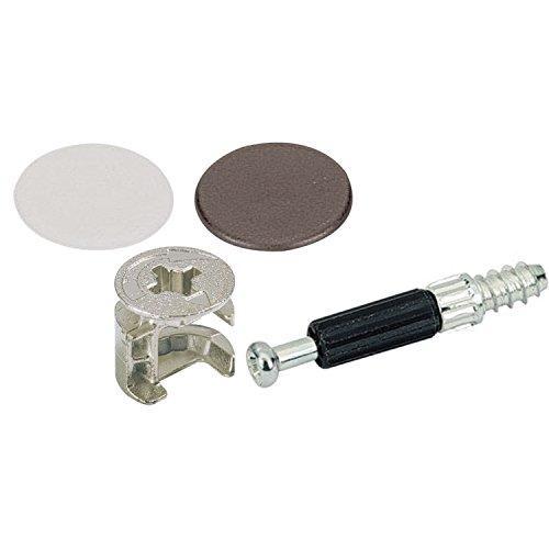 SECOTEC Schrank-Verbinder Exzenter 15 mm, hochwertiger Kunststoff braun/weiß, 8 Stück