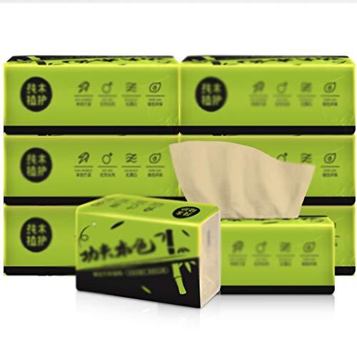 Natürlicher Bambus Zellstoff-Papier Kosmetiktücher 8 Pack Family Pack Extractive Serviette Toilettenpapier, 3 Ply 300 Blatt pro Packung ZHANGGUOHUA (Color : Natural, Size : 8 Packs)
