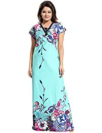 Tucute Girls / Women's Night Gown / Nightwear / Nighty / Nightdress With Floral Print Border