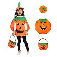 caicainiu 3PCS Pumpkin Costume for Kids Children Halloween Pumpkin Cosplay Party Clothes and Hat