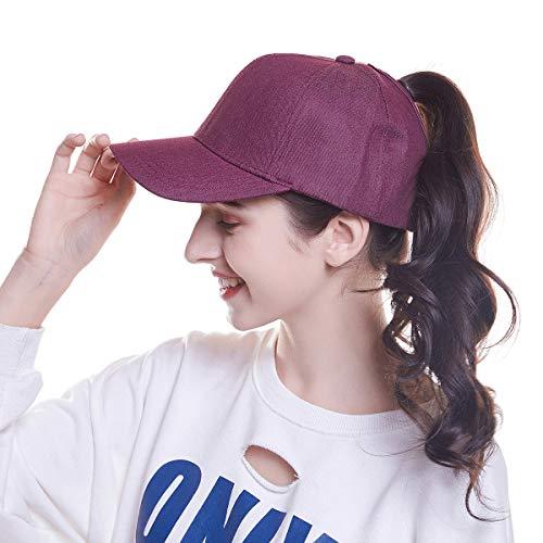 WELROG Dame Baseball Kappe Hip-Hop-Hut Verstellbar Baumwolle Pferdeschwanz Cap (Wein rot) (Plain Sonne Hut)