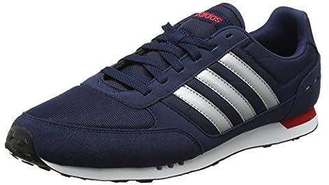 Adidas Neo City Racer, Chaussures de Running Homme, Multicolore (Collegiate Navy/Matte Silver/Scarlet), 41 1/3 EU