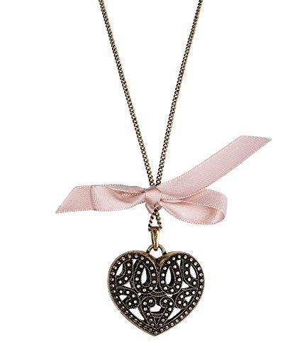 SIX Vintage Kette mit großem Herzanhänger, ideal als Muttertagsgeschenk oder zum Valentinstag, rosa Schleife, Modeschmuck in Vintage (730-789)