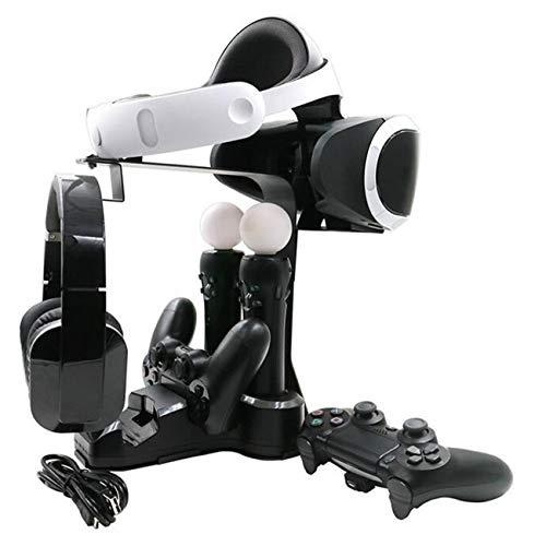 Fisound PS4 PSVR Showcase Charge Station Display Stand Dock di ricarica con caricatore rapido CA + carica 2Caricabatterie controller Mover + 2 porte di ricarica + Spazio aggiuntivo per cuffia VR