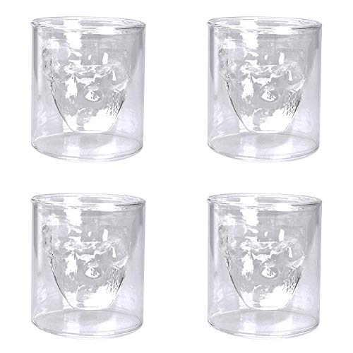 tenkopf Doppelschichtige transparente Glasbecher Trinkgeschirr für Zuhause Bar Bier Wein Wasser Halloween Trinkgeschirr, Glas, 150ml, 8.5x8cm/3.35x3.15in ()