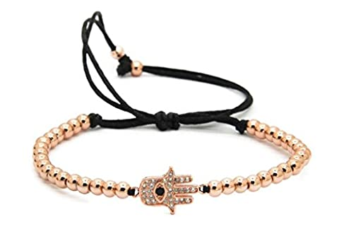 GOOD.designs Chakra Perlen-Armband aus Hämatit-Natursteinen, Hand der Fatima Hamsa-Anhänger in Roségold