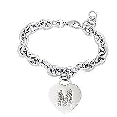 Idea Regalo - Bracciale donna in acciaio groumette con lettera M - iniziale e cristalli BIANCO, misura regolabile, nascita, anniversario, idea regalo