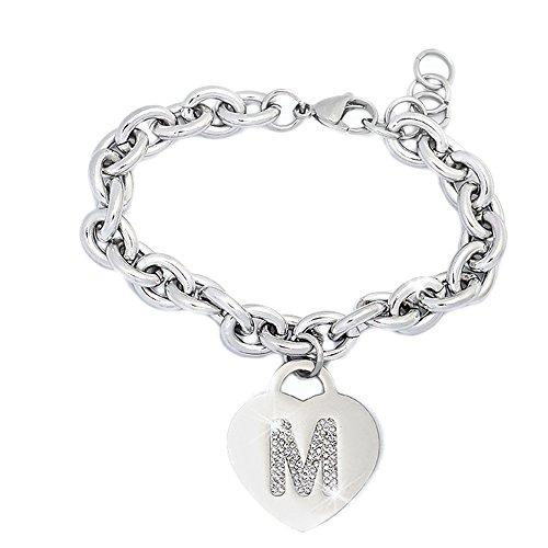 Bracciale donna in acciaio groumette con lettera m - iniziale e cristalli bianco, misura regolabile, nascita, anniversario, idea regalo