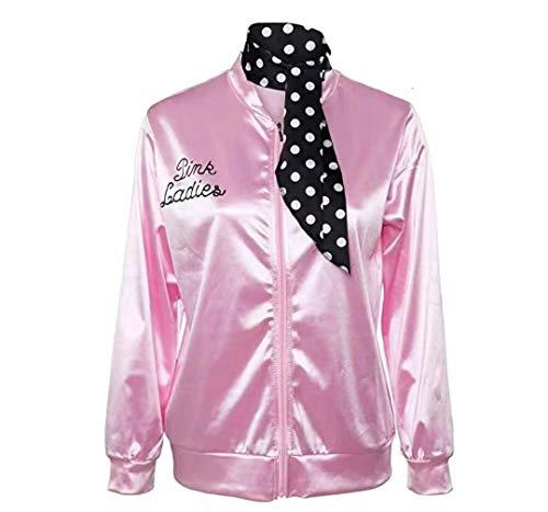 TGP 1950er Jahre Rosa Satin Baseball Jacke mit Schal Mädchen Frauen Halloween Kostüm Kostüm Requisiten ()