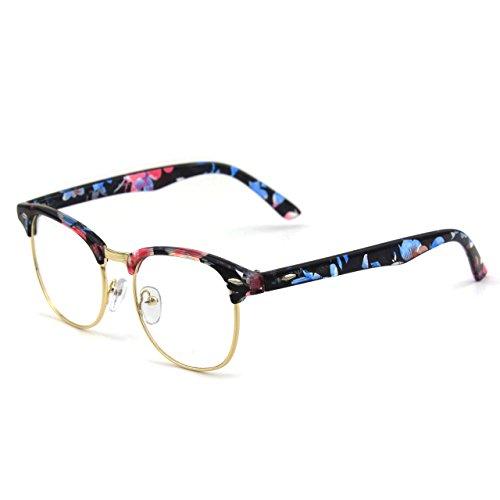 CGID CN56 Lunettes à verres transparents UV400 Wayfarers nerd à monture d'écaille vintage inspirées Mixed color A