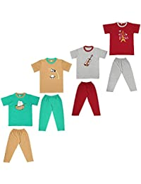 Cherry Blossom Unisex Boy's Cotton Tshirts and Full Pant Trouser Combo - Pack of 4