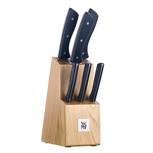 WMF ProfiSelect Messerblock, mit Messerset, 7-teilig, Block mit 6 Messer, geschmiedet, Spezialklingenstahl, Edelstahl-Nieten, Eichenholz, -
