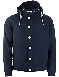 Weekend Offender Mens Blake Jacket in Navy-Zip Fastening with Button Cover-Removable Hood