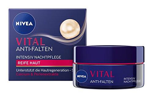 NIVEA Vital Anti-Falten Regenerierende Nachtpflege im 1er Pack (1 x 50 ml), Nachtcreme mit Perlenextrakten und Calcium, Anti Aging Feuchtigkeitscreme für gepflegte Haut