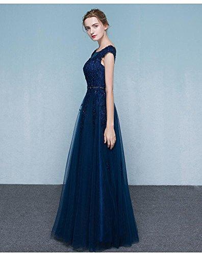 Beauty-Emily O-Ansatz Kappen-Hülsen-Tulle-SpitzeApplique-Brautjunfer-Kleid Marina Militare
