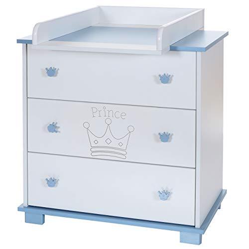 Wickel-Kommode Baby Wickelauflage Aufsatz abnehmbar 3 grosse Schubladen; weiß-blau - Zwei Breite Wickelkommode