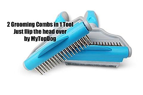 DOG GROOMING TOOL | 2in1 Hair Groomer | Dematting Detangling Deshedder | Furminator Comb Blade for Deshedding Fur | Best Defurminator for Short to Long Haired Pets | Reduces Shedding more than Brush