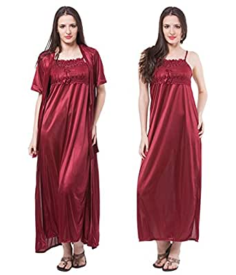Fasense Satin Nightwear 2 PCs Set of Nighty & Wrap Gown (Medium, Maroon)