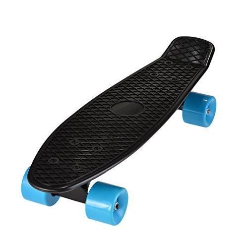 WeSkate 55cm Mini Cruiser Skateboard Gemustertes Retro Board mit stabilen Deck 4 PU-Rollen für Kinder, Jugendliche und Erwachsene (Blau Schwarz)