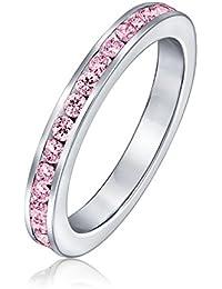 Bling joyas en plata esterlina CZ Anillo Turmalina rosa simulada