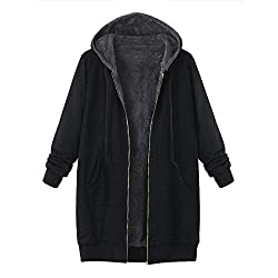 IZHH Plus Size Damen Mantel, Fashion Winter Warm Outwear Volltonfarbe Kapuzen Taschen Vintage Mäntel PlüSchjacke Windbreaker Steppjacke(Schwarz,XX-Large)