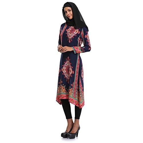 Trada Abendkleid, Muslimische Frauen Islamische Druck Lange Ärmel Plus Size Middle East Langes Kleid Elegant Vintage Lang Kleid Boho Kleid Casual Festlich Sommerkleider Partykleid (M, Blau)