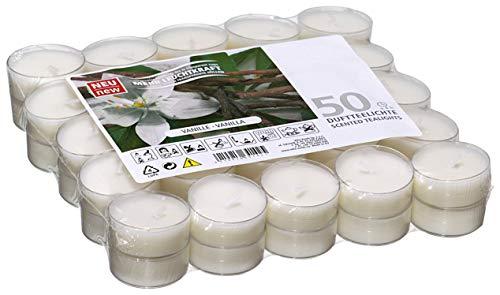 Smart planet® candele profumate alla vaniglia - confezione da 50 - 50 pezzi alal vaniglia in custodia trasparente.