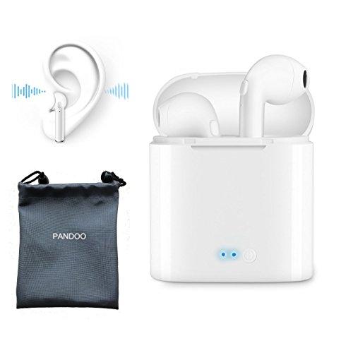 Wireless in-Ear pandoo Bluetooth Headsets Kopfhörer True Kabellose Kopfhörer Stereo-Sport-Kopfhörer mit Ladekabel für iPhone, Samsung, Android Smartphone Handy (2–Weiß)