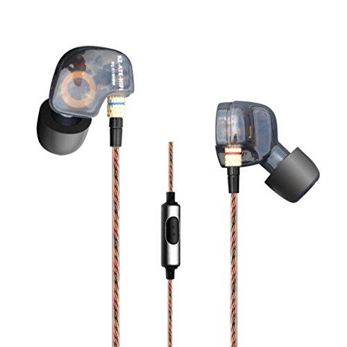 Fulltime® Ursprüngliche KZ-ATE Pro Performance-In-Ohr Kopfhörer HIFI DJ Exquisite Earbuds Foam Tips mit Mikrofon-Steuerung für iPhone / Samsung / LG / HTC-Smartphones (Schwarz)