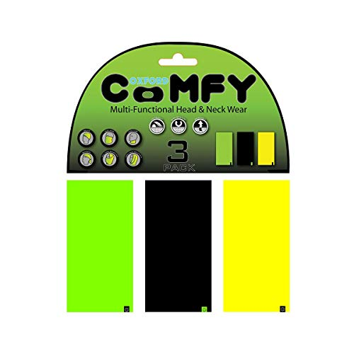Oxford 1291597 Bandana Multifunzione Tubolare Comfy, Verde/Nero/Giallo, Confezioni da 3