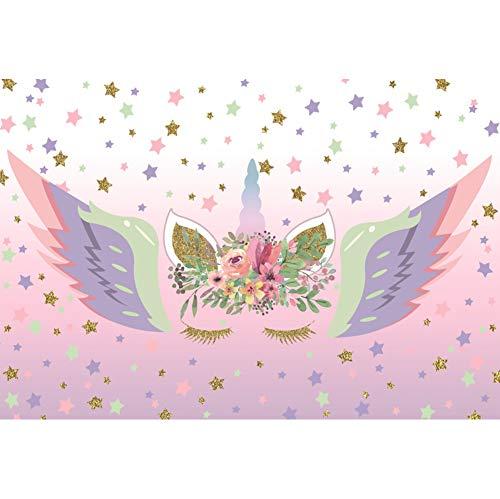 Cassisy 1,5x1,2m Polyester Einhorn Fotohintergrund Sparkle Stars Wallpaper Blumendekor Einhorn Angel Wings Fotoleinwand Hintergrund für Fotostudio Requisiten Party Baby Photo Booth
