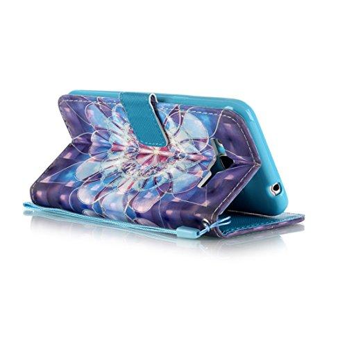 Lotuslnn iPhone 6 Plus / iPhone 6s Plus (5.5 Pouces) Coque Girafe, Bleu,Dessin coloré Flip Wallet Cuir Etui Housse Case Cover pour iPhone 6 Plus / 6s Plus -(Coque+ Stylus Stift+Screen Protector) fleurs de Datura