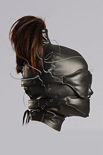 Pferdeschwanz Bondage Maske - sanfte Augenbinde und gedaempfter Knebel - Vegan Leder - BDSM Maske (S)