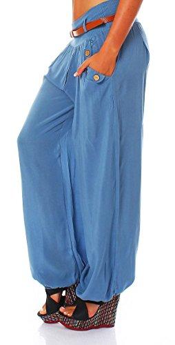 malito Damen Chino Hose in Unifarben | Freizeithose mit Gürtel | Sommerhose für den Strand | Haremshose