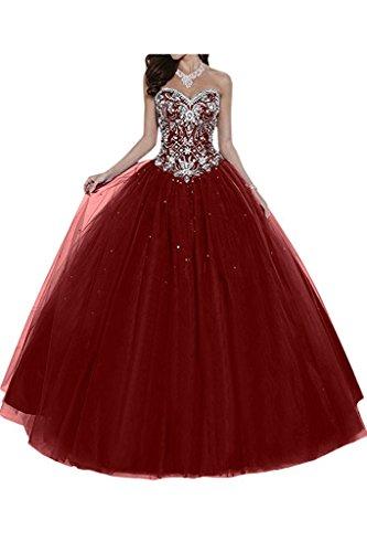 Dresses Onlie Damen Hochzeitskleider Lange Quinceanera Kleider Prinzessin Perlstickerei Abendkleider Ballkleider(Weinrot,40) - Quinceanera Kleider Kleider